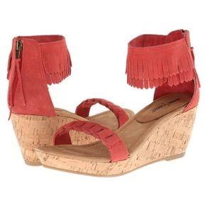 Minnetonka leather sandals, wedge heel sz 10